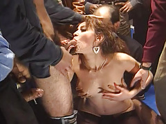 Horny Prostitute Have fun Blowing Abundant Cocks Although Group sex Session