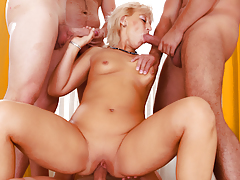 MILF massage curves into a dirty 4-guy gangbang fuckfest!